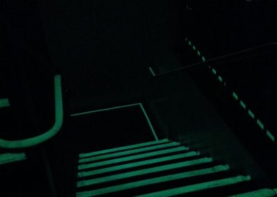 Stairwell with EverLasting Glow strips - night time